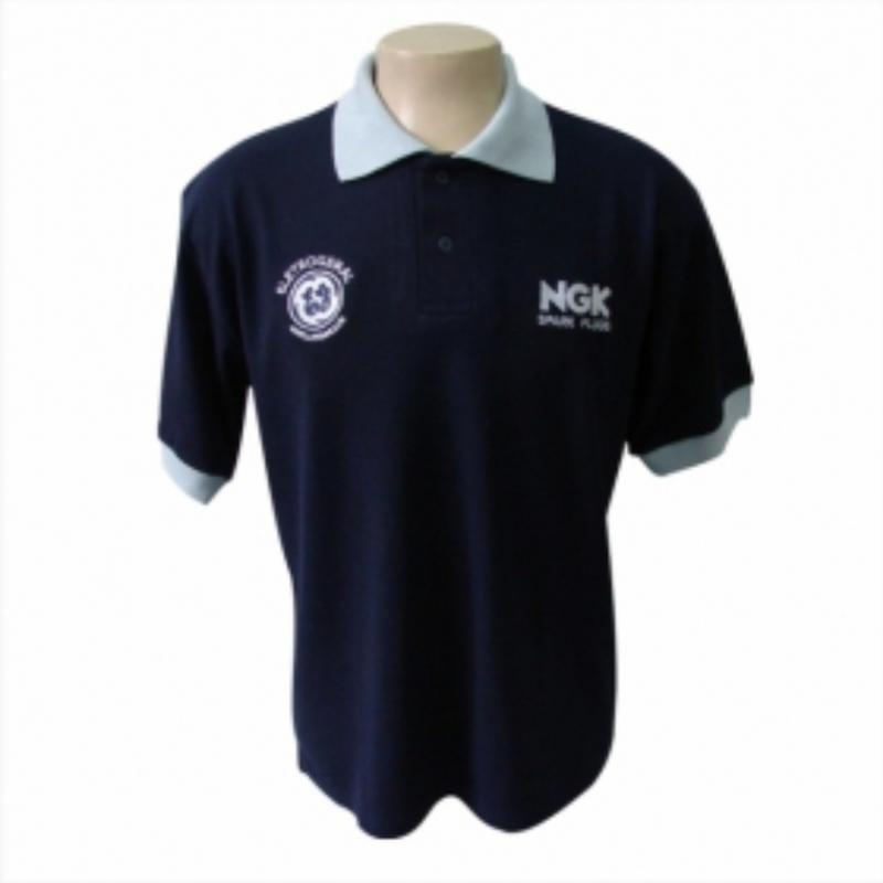 eee8ed1fef Camiseta Polo personalizada azul. Skill Brindes