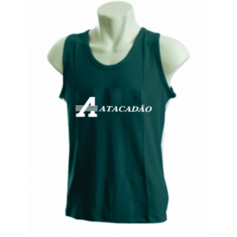 4187219cd7 Camiseta regata personalizada verde. Skill Brindes